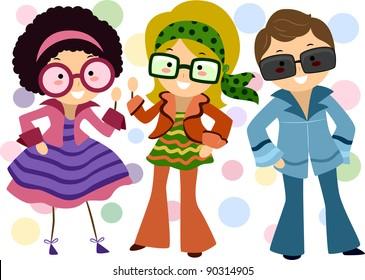 Illustration of Kids Dressed in Retro Costumes