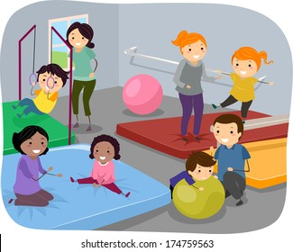 Illustration of Kids Enjoying a Day at the Gym Together with Their Parents