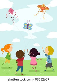 Illustration of Kids Flying Kites