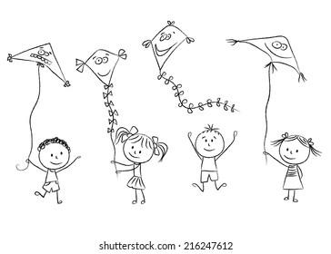 Cartoon Kite Flying Images Stock Photos Vectors Shutterstock