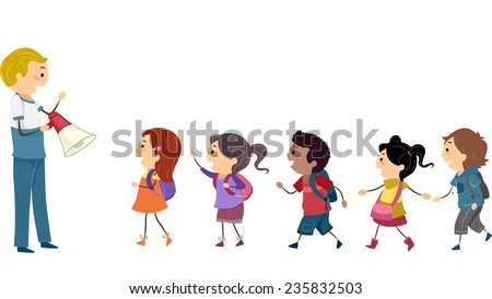 Illustration Kids Following Instructions Teacher During Stock Vector