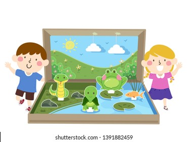 Illustration of Kids with a Fresh Water Ecosystem Diorama with a Frog, Turtle, Fish and Snake