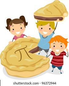 Illustration of Kids Gathered Around a Pie