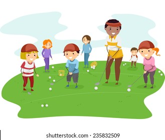 Illustration of Kids Getting Golf Lessons From Their Coach