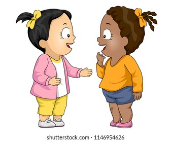 Illustration of Kids Girl Toddlers Talking to Each Other. First Meeting, Friends