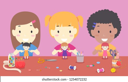 Illustration of Kids Girls Sewing DIY Toy Dolls with Thread, Scissors and other Sewing Notions on the Desk