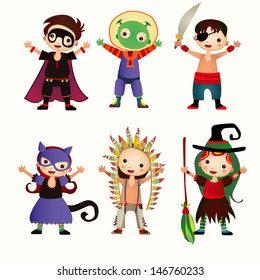 An illustration of kids in halloween costumes. Figures of children in festive costumes on the isolated background.