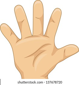 Illustration of Kid's Hand Showing a Five Hand Count
