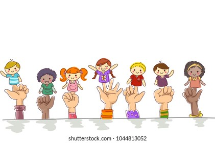 Illustration of Kids Hands Border Holding Finger Puppets