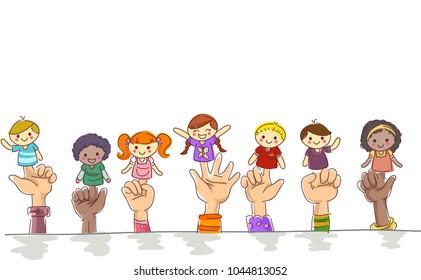 Illustration of Kids Hands Border Holding Finger Puppets