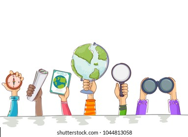 Illustration of Kids Hands Holding Geography Elements from Compass, Map, Book, Globe, Magnifying Glass and Binoculars