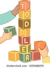 Illustration of a Kids Hands Stacking Up a Cube Tower Forming a Toddler Word