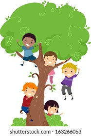 Illustration of Kids Hanging from a Tree