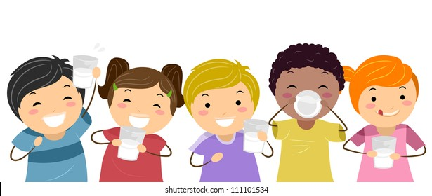 Minh họa của trẻ em hạnh phúc uống sữa