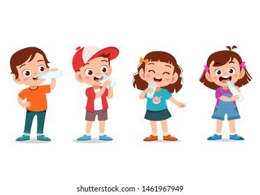 Illustration of Kids Happily Drinking Milk