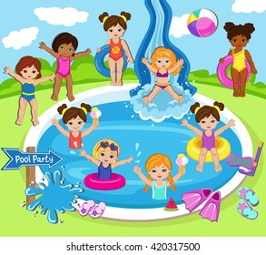 Illustration of Kids Having a Pool Party.