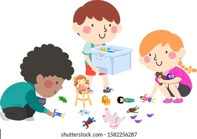 Illustration of Kids Helping to Pick Up Toys and Put in a Container