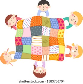 Illustration of Kids Holding a Big Quilt They Made and Looking Up