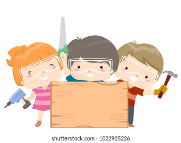 Illustration of Kids Holding a Blank Wooden Board and a Screwdriver, Hammer and Saw
