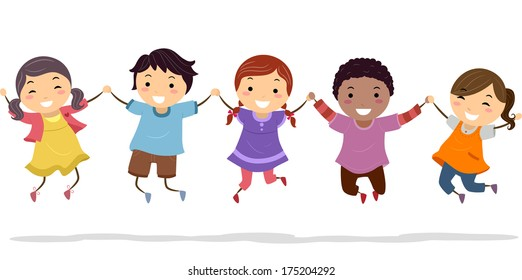 young children holding hands stock illustrations images vectors rh shutterstock com
