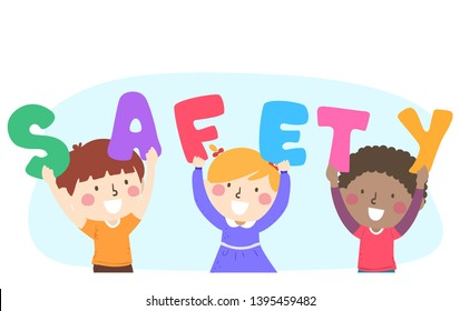 Illustration of Kids Holding the Letters to Form Safety Word Up