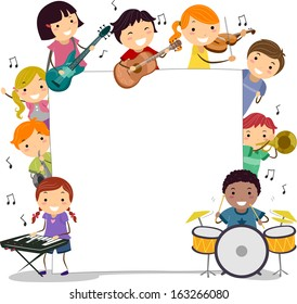 Illustration of Kids Holding Musical Instruments Surrounding a Blank Board