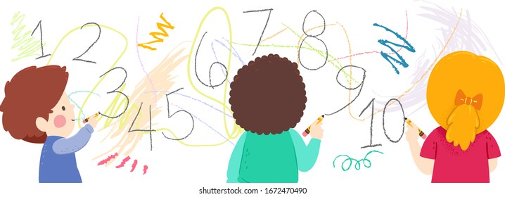 Illustration of Kids Holding Pencil, Writing and Scribbling Numbers on a Wall