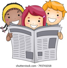 Illustration of Kids Holding and Reading a Newspaper