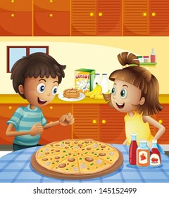 Illustration of the kids at the kitchen with a whole pizza at the table