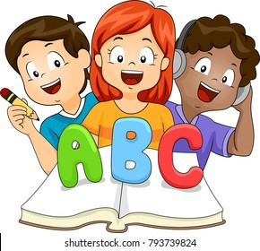 Illustration of Kids Learning ABC Book by Listening, Reading and Writing