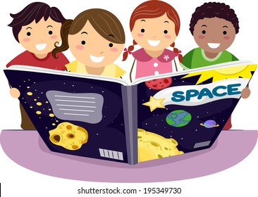 Illustration of Kids Learning Astronomy Together