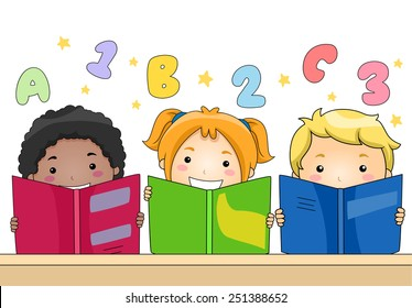 Illustration of Kids Learning to Read and Write