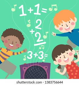 Illustration of Kids Listening and Singing Rhymes About Solving Math Problems