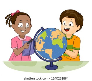 Illustration of Kids Looking at a Book and a Globe and Studying Geography