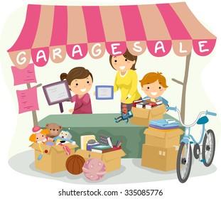 Illustration of Kids Manning a Garage Sale Booth