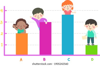 Illustration of Kids on a Colorful Bar Graph or Chart Learning About It