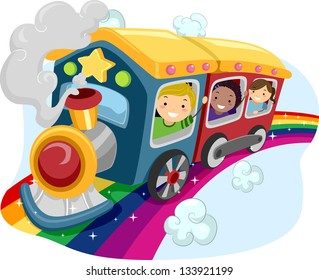 Illustration of Kids on a Rainbow Train