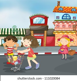 illustration of kids on road for outing