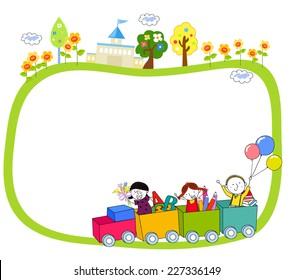 Illustration of Kids on a Train and Frame