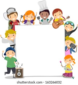 Illustration of Kids Participating in Extra Curricular Activities Surrounding a Blank Board