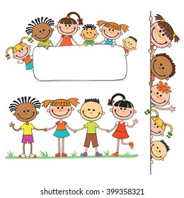 illustration of kids peeping behind placard children together vector, pupil, decoration, fun, copy, boy, blank, concept, vector, happiness, friendship, celebration, isolated, child