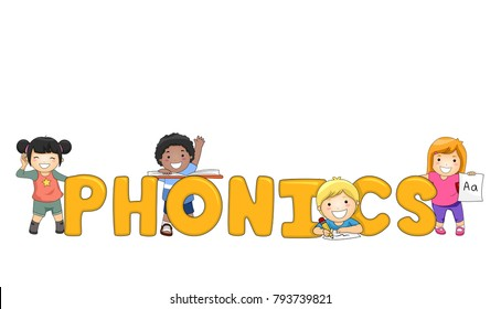 Illustration of Kids with Phonics Lettering, Listening, Reading, Writing and Holding Alphabet