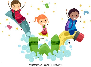 Illustration of Kids Playing with Animated School Supplies