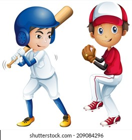 Illustration of kids playing baseball