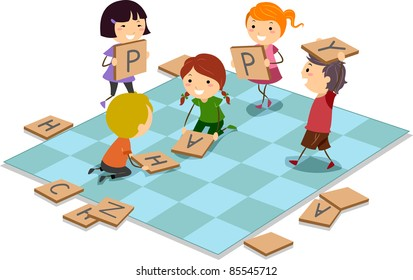 Illustration of Kids Playing a Board Game