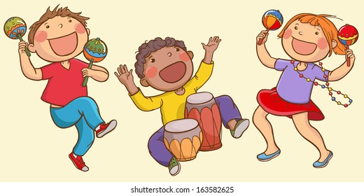 Illustration of Kids Playing Ethnic Musical instruments . Children illustration for School books, magazines, advertising and more. Separate Objects. VECTOR.
