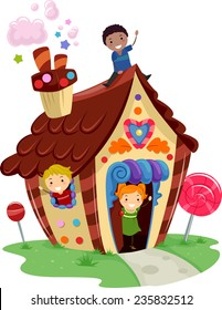 Illustration of Kids Playing in a Fancy House Made of Candies