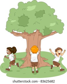 Illustration of Kids Playing Hide and Seek at Camp