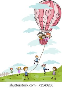 Illustration of Kids Playing with a Hot Air Balloon