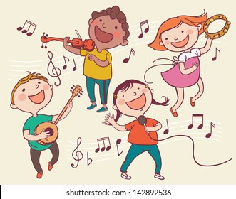 Illustration of Kids Playing Musical instruments . Children illustration for School books and more. Separate Objects.